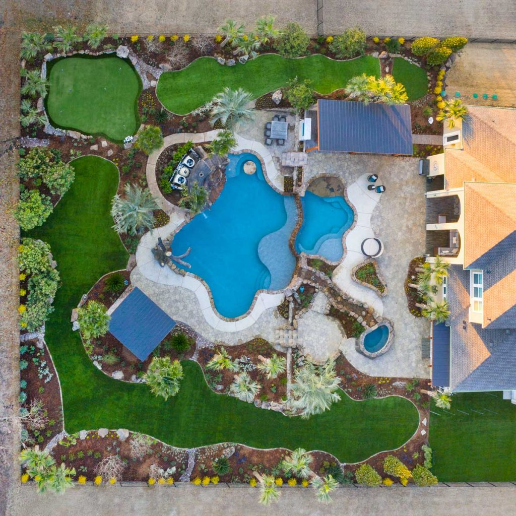 top view of landscaping for a house
