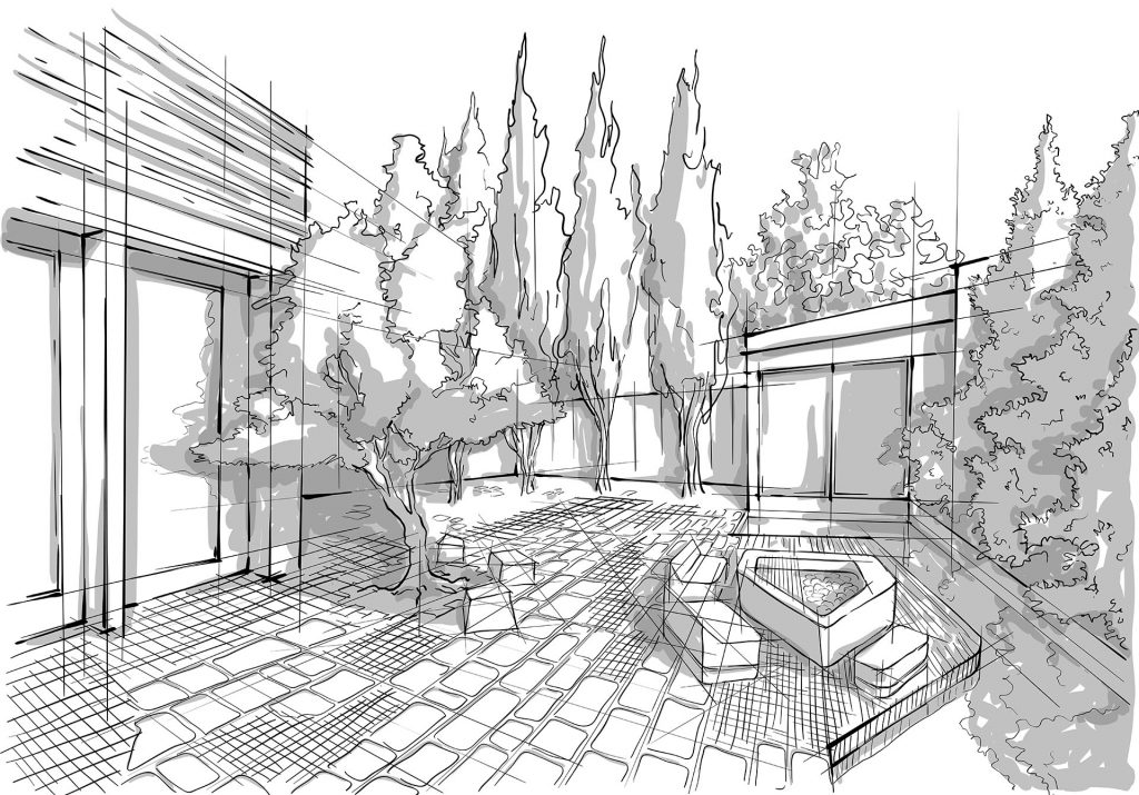 architecture drawing of backyard outdoor living space