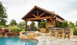 Outdoor landcape of overhead structure and pool