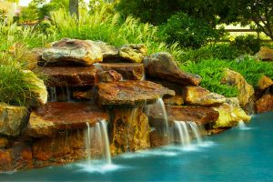Poolscape boulder waterfall